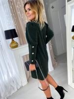 Платье SIZE PLUS креп-люрекс зеленое UM29