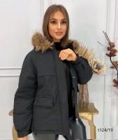 Куртка-парка с натуральным мехом черная T124