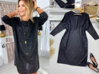 Платье SIZE PLUS люрекс черное  UM29