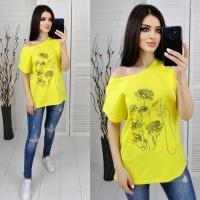 Футболка SIZE PLUS женский образ и цветы желтая IN