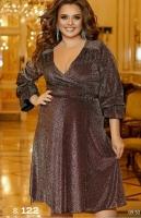 Платье на запах SIZE PLUS люрекс песок шоколад RH122
