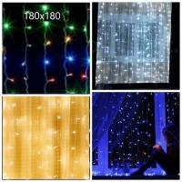 Гирлянда с небьющимися лампами на окно шторка 180х180 6-13