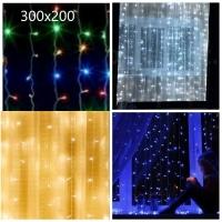 Гирлянда с небьющимися лампами на окно шторка 300х200 6-13/MX