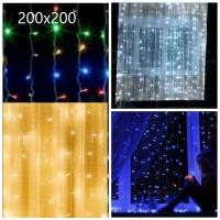 Гирлянда с небьющимися лампами на окно шторка 200х200 6-13/MX