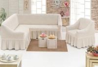 Комплект чехлов на мебель угловой диван и кресло кремовый