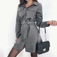 Платье спандекс с ремешком серое B47
