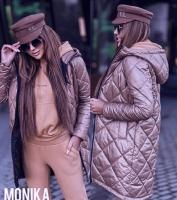 Болоневая удлиненная куртка пудра A133