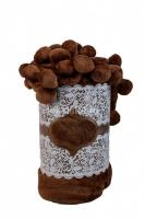 Плед с помпонами шоколад