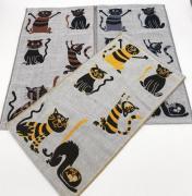 Полотенце из рогожки с котиками 35х55