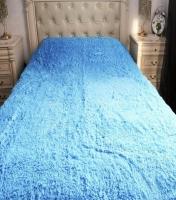 Меховой плед 220×240 голубой