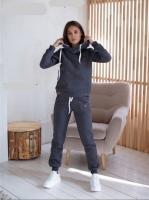 Утепленный костюм с мехом на капюшоне графит T124