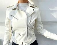 Куртка экокожа с кармашком и ремнем белая ZI