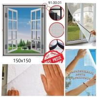 Антимоскитная сетка для окна от насекомых на клейкой липучке размером 150х150 см