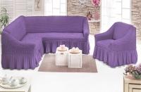 Комплект чехлов на мебель угловой диван и кресло сирень
