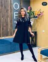 Платье SIZE PLUS рукав гипюр черное N107