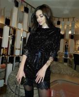 Платье люрекс с пояском гипюр по низу черное A133