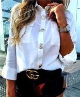 Рубашка с крупными пуговицами белая A133 OP37