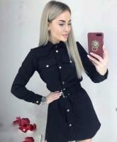 Платье спандекс с ремешком черный B47