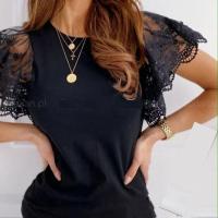 Блузка кружевной рукав короткий черная A133 4-103