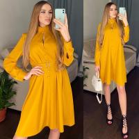 Платье атласное с поясом желтое RH122