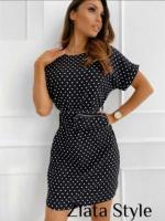 Платье софт в горошек с сумочкой черное S29 K115