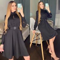 Платье атласное с поясом черное RH122