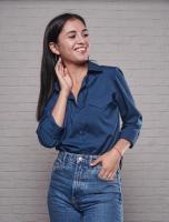 Рубашка имитация карманов лайт тем-синяя 122