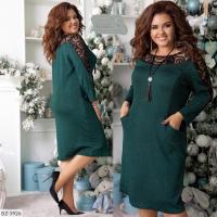 Платье SIZE PLUS крепун с люрексом верх кружево зеленое UM98 107
