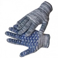 Перчатки рабочие, строительные, хозяйственные ХБ с ПВХ серый меланж за 1 пару