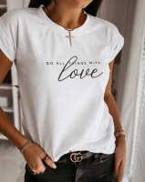 Футболка SIZE PLUS do all things thith LOVE белая A115 NU