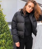 Куртка дутик стойка ворот black T124 ZI D31