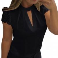 Блузка с коротким кружевным рукавом и вырезом декольте черная A133