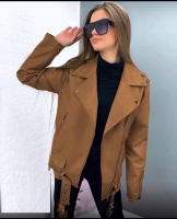Куртка под кожу удлиненная карамель ZI NG 124