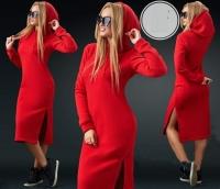 Платье миди на флисе с капюшоном красное KH110