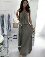 Платье длинное с поясом темно-серое S29