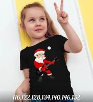 Детская футболка Дед мороз с гитарой черная Xi