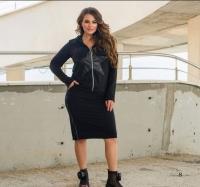 Костюм со звездой SIZE PLUS юбка и кофта черный RH06