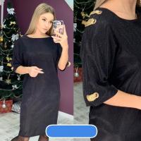 Платье SIZE PLUS с люрексом черное UM43