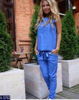 Костюм майка и брюки синий KH110