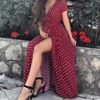 Платье в горошек на запах bordo OP37