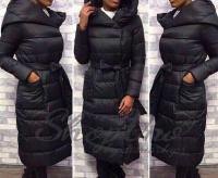 Болоневое пальто с капюшоном и пояском черное ZI