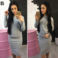 Костюм кофта и юбка ангорка св-серый XK77 110