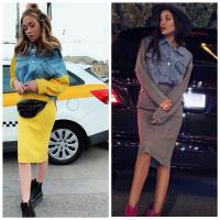 Костюм юбка и джинсовка с вязаными рукавами ZI