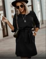 Платье с поясом черное Rh122