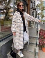 Стильное пальто гусиная лапка серо-бежевая DIM