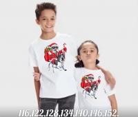 Детская футболка Собачка и Дед Мороз белая Xi