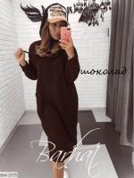Туника-платье на флисе с карманом кенгуру шоколад UM37