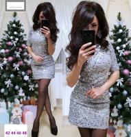Платье пайетки на велюре серебро RX1-48 104
