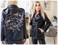 Куртка OVERSIZE экокожа с надписью на спине черная T124