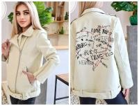 Куртка OVERSIZE экокожа с надписью на спине кремовая T124